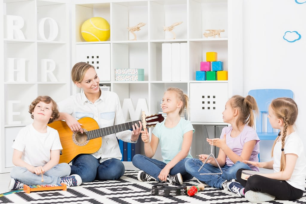 School music group at their weekly rehearsal